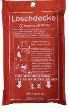 Löschdecke Weiß/Rot • Glasfaser • Stärke: 0,45mm • B/L: ca. 100/100 cm